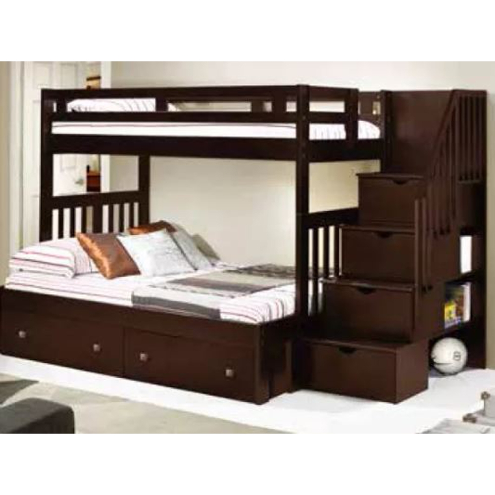 Twin Over Full Stairway Bunk Bed Cappuccino Dcg Stores