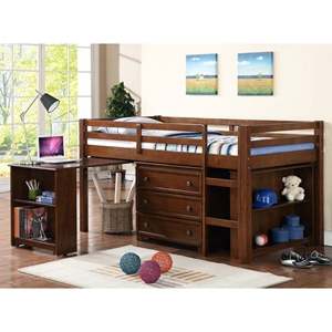 Nicolai Low Twin Size Loft Bed - Roll-Out Desk, Chest, Harvest Brown