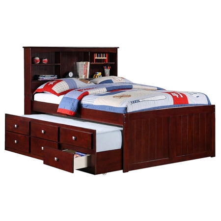 Glasgow full bookcase trundle bed drawers dark for Beds glasgow
