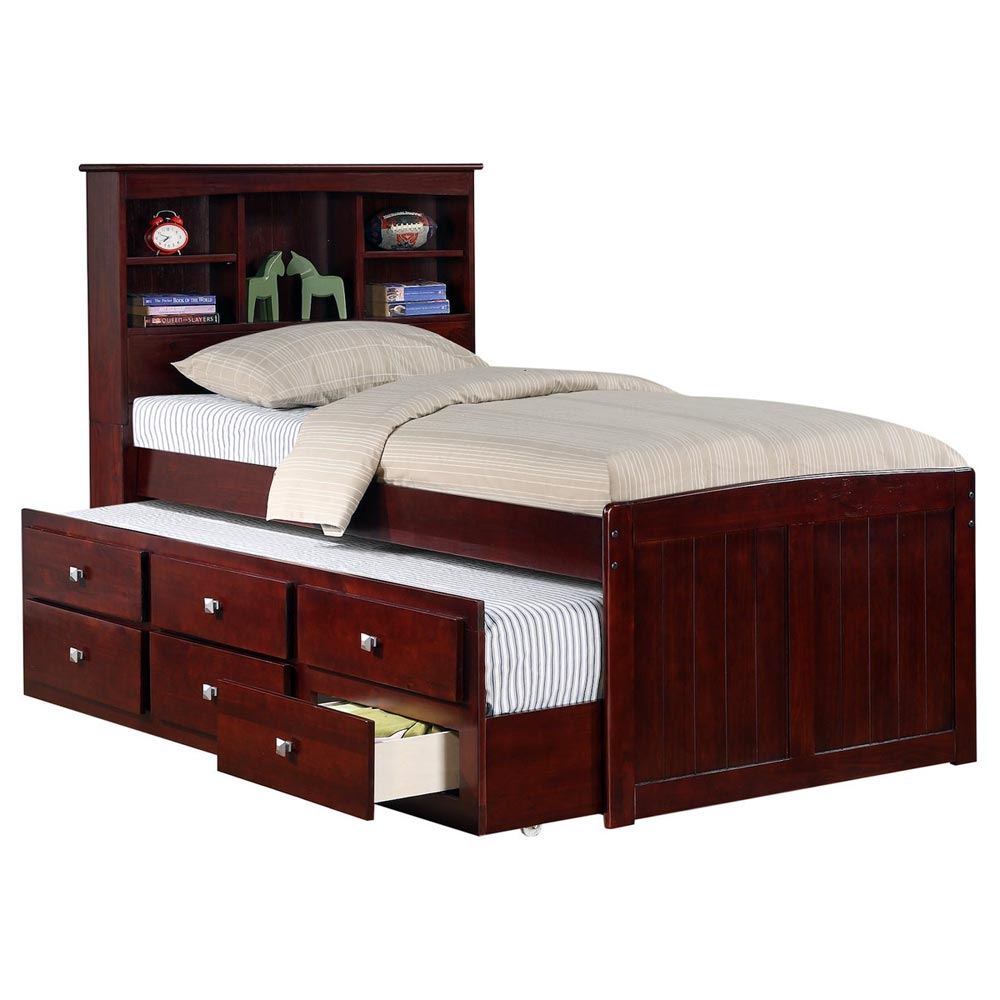 Glasgow Twin Bookcase Trundle Bed - Drawers, Dark Cappuccino