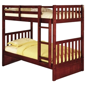 Twin Over Twin Mission Bunk Bed - Merlot