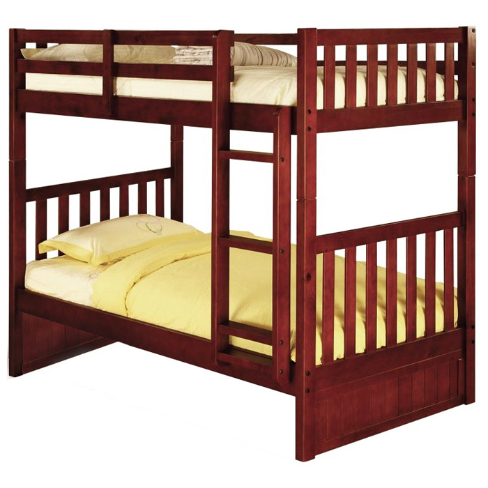 Mcallister Twin Over Twin Bunk Bed Slats Bead Board Merlot Dcg