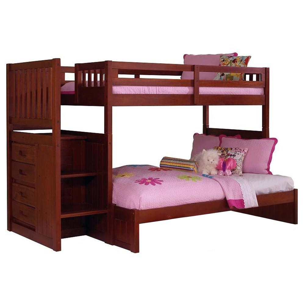 Orville Twin Over Full Staircase Bunk Bed - Chest, Merlot - DONC-2814-TF