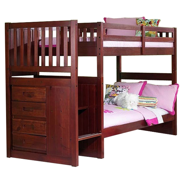 Orville Twin Over Twin Staircase Bunk Bed - Chest, Merlot - DONC-2814-TT