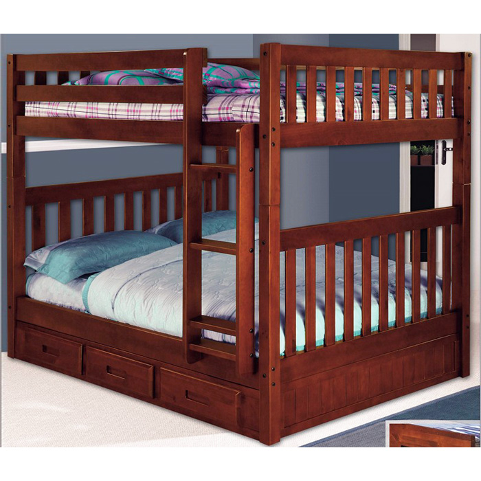 Mcallister Full Over Full Bunk Bed Slats Bead Board Merlot Dcg