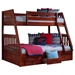 Twin Over Full Mission Bunk Bed - Merlot - DONC-2818