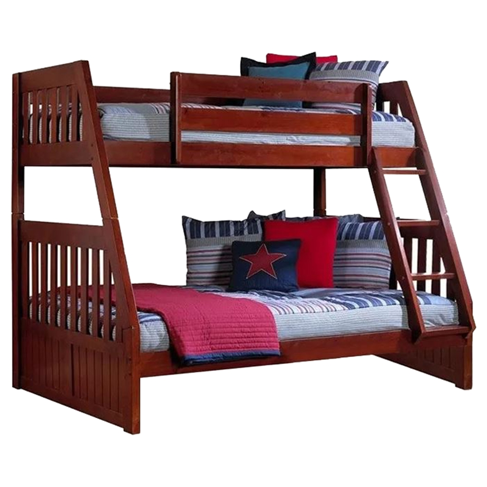 Twin over full mission bunk bed merlot dcg stores for Twin over full bunk bed