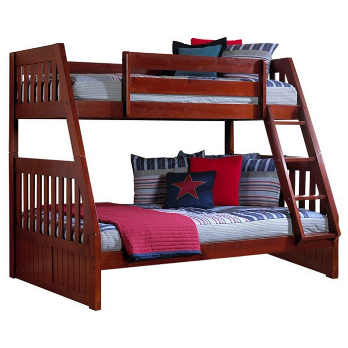 Mcallister Twin Over Full Bunk Bed Slats Bead Board Merlot Dcg