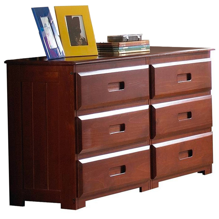 Joplin 6 Drawer Dresser Bead Board Sides Merlot Finish Dcg Stores