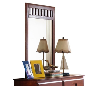 Joplin Slatted Top Mirror - Merlot Finish