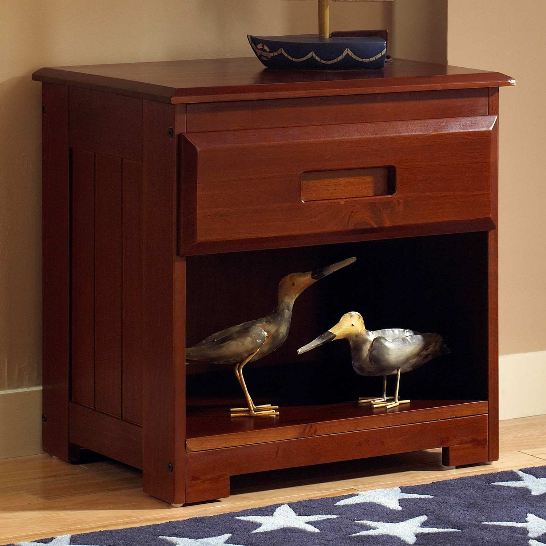 Joplin Wooden Nightstand Drawer Shelf Merlot Finish Dcg Stores