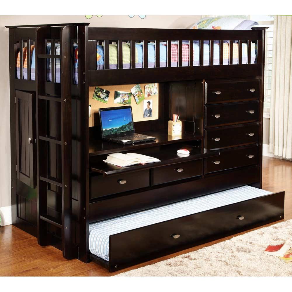 Nevin Twin Loft Bed Desk Chest Dark Espresso Dcg Stores