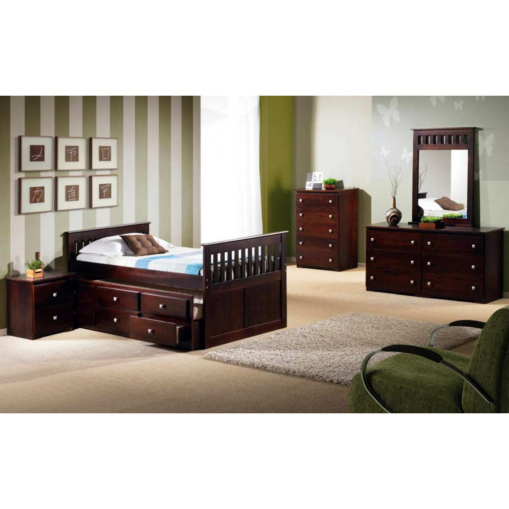Gable Twin Mission Trundle Bed - Square Handles, Dark Cappuccino - DONC-303TCP