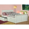 Faustine Full Sleigh Bed - Bead Board Panels, White Finish - DONC-325FW
