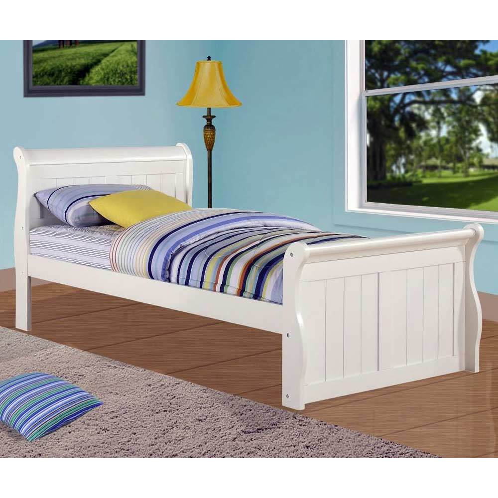 faustine twin sleigh bed bead board panels white finish donc325tw - Twin Sleigh Bed