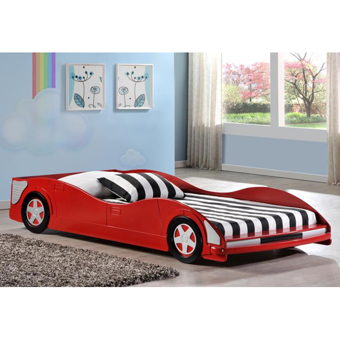 dresden twin size race car bed low profile red dcg stores. Black Bedroom Furniture Sets. Home Design Ideas