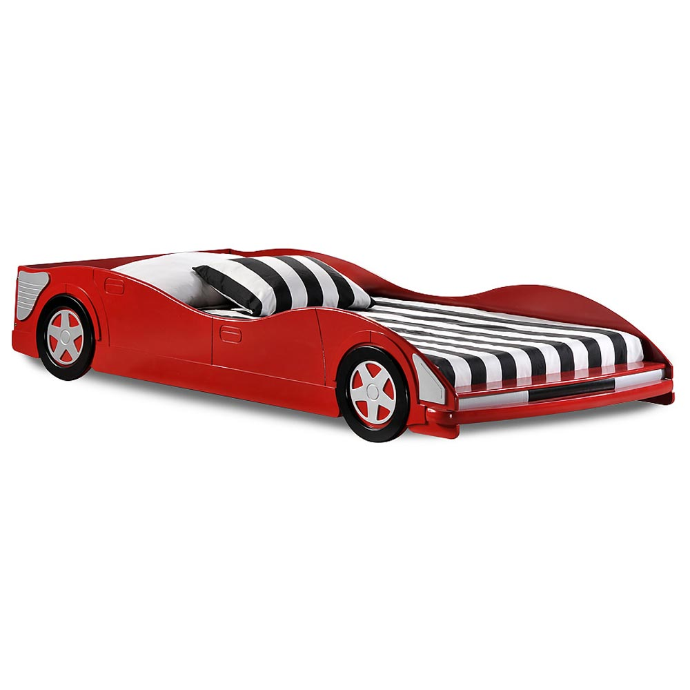 Dresden Twin Size Race Car Bed - Low Profile, Red  DCG Stores