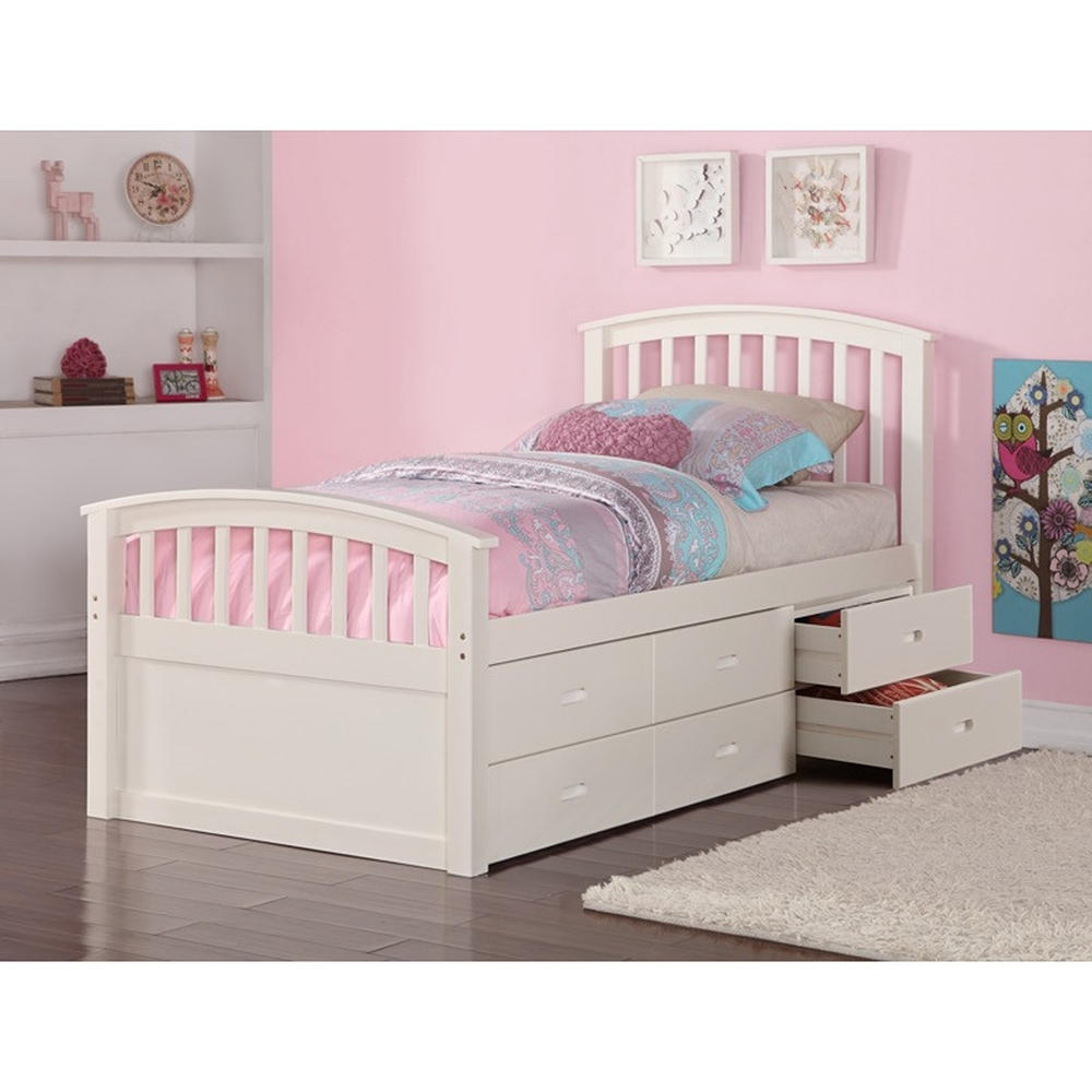Twin Storage Bed 6 Drawers White