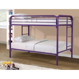 Twin Over Twin Metal Bunk Bed - Purple