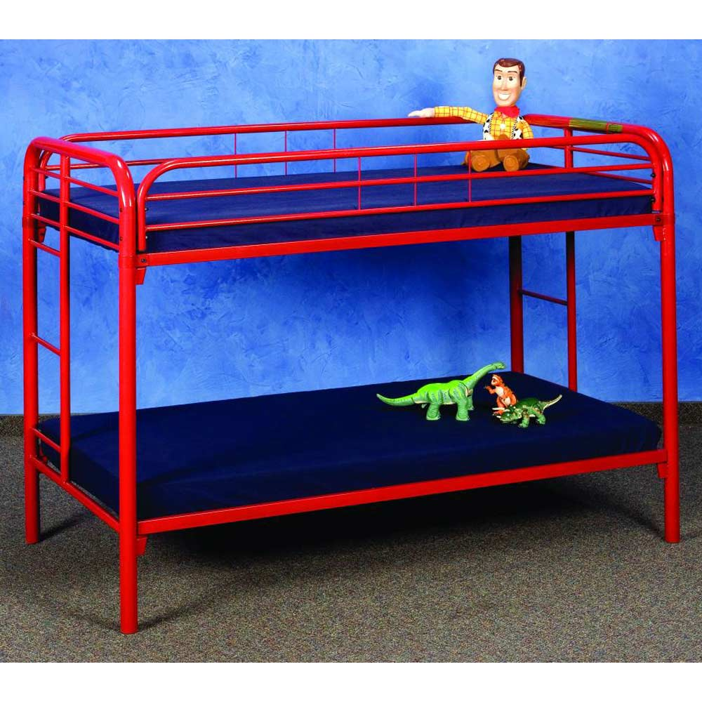 keagan twin over twin metal bunk bed gloss red dcg stores. Black Bedroom Furniture Sets. Home Design Ideas