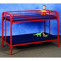 Keagan Twin Over Twin Metal Bunk Bed - Gloss Red