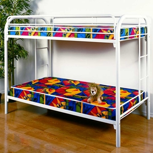 Keagan Twin Over Twin Metal Bunk Bed - Gloss White