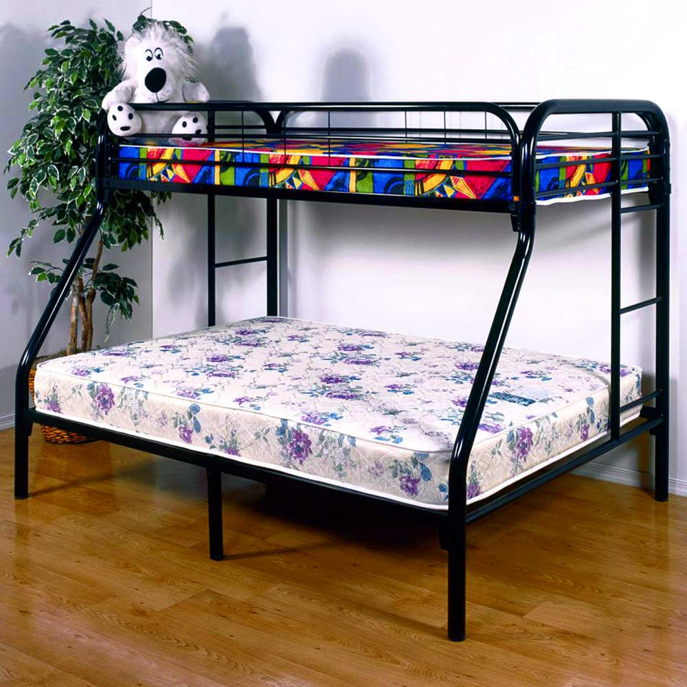 keagan twin over full metal bunk bed gloss black dcg stores. Black Bedroom Furniture Sets. Home Design Ideas