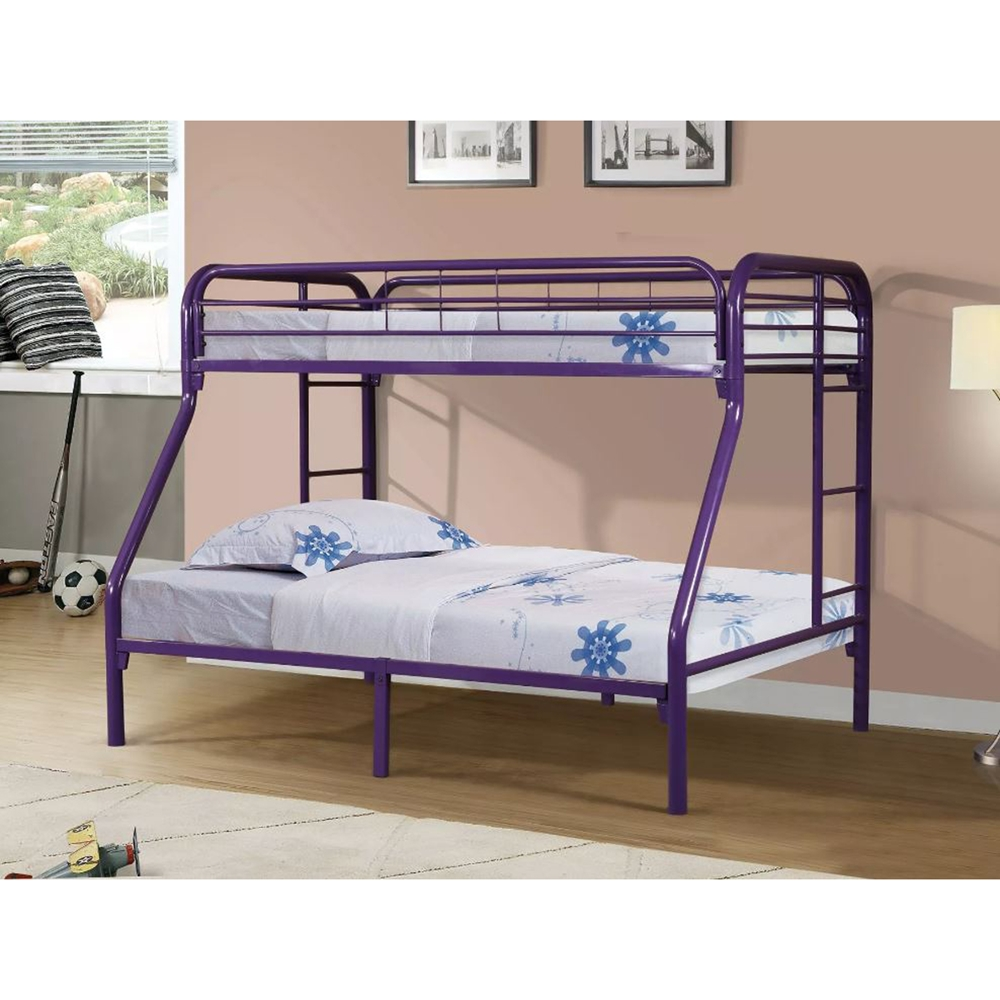 Twin over full metal bunk bed purple dcg stores for Second hand bunk beds