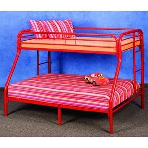 Keagan Twin Over Full Metal Bunk Bed - Gloss Red