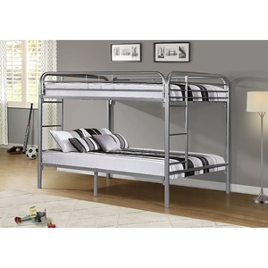 Metal Bunk Bed - Full Over Full, Silver