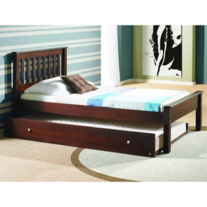 Embry Contemporary Bed - Slatted Headboard, Dark Cappuccino