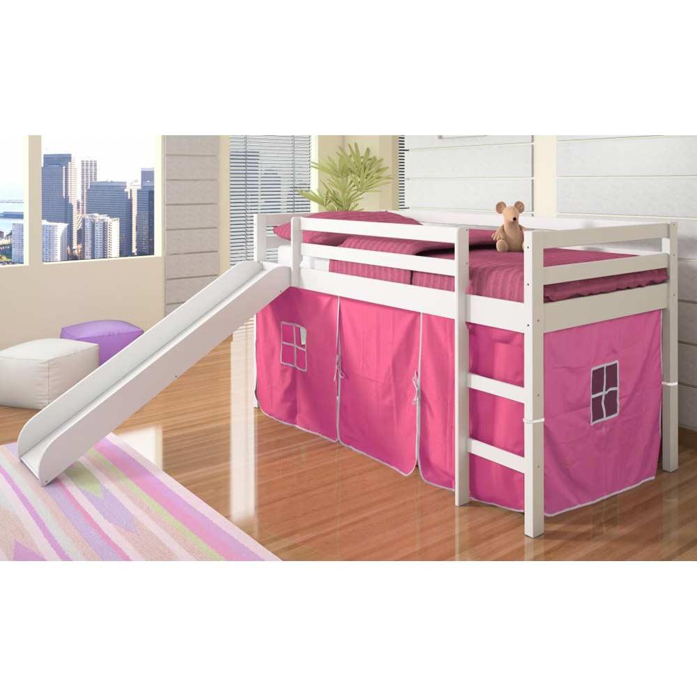 Marsden White Wooden Loft Bed Slide Pink Tent Dcg Stores