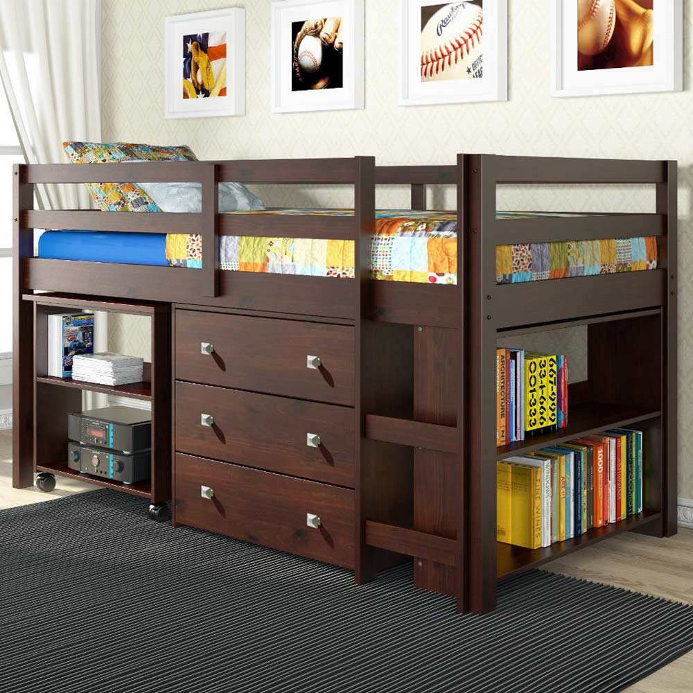 Nicolai Low Twin Size Loft Bed Roll Out Desk Chest Dark Cappuccino Dcg S