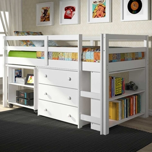 Nicolai Low Twin Size Loft Bed - Roll-Out Desk, Chest, White