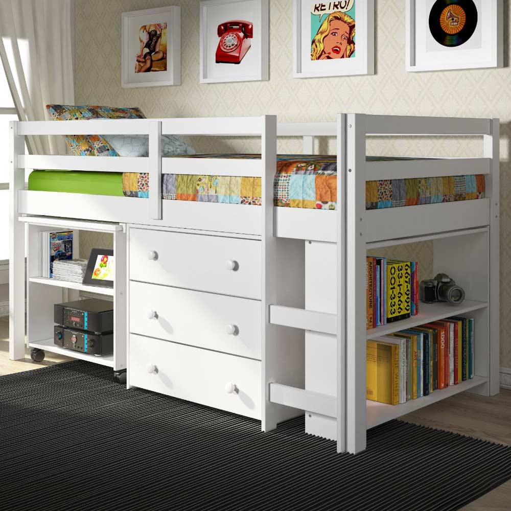 Nicolai Low Twin Size Loft Bed Roll Out Desk Chest White Dcg S