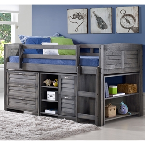 4 Pieces Bedroom Set - Twin Bed, 2 Chests and Bookcase, Antique Gray
