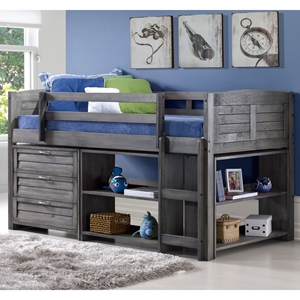 4-Piece Bedroom Set - Twin Bed, 3-Drawer Chest and 2 Bookcases, Antique Gray