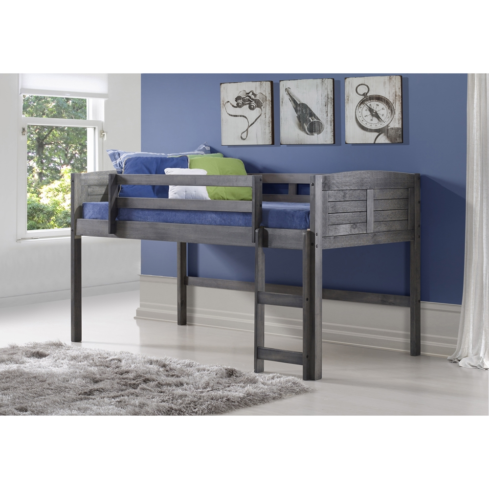 twin louver low loft bed antique gray dcg stores. Black Bedroom Furniture Sets. Home Design Ideas