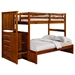 Orville Twin Over Full Staircase Bunk Bed - Chest, Light Espresso - DONC-820E-TT-800EE
