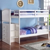 Patrice Twin Arched Panel Staircase Bunk Bed - Chest, White - DONC-840W