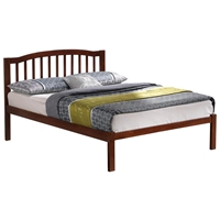 Bettina Platform Bed - Curved Top Rail, Vertical Slats Walnut