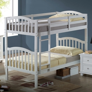 Cecile Arched Mission Twin Bunk Bed - White, Mattress Ready