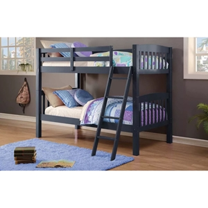 Twin Over Twin Mission Bunk Bed - Navy