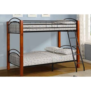 Twin Over Twin Bunk Bed - Cherry and Black