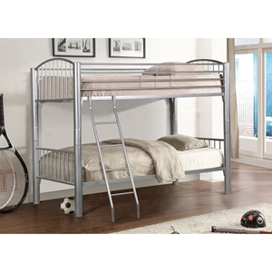Twin Over Twin Metal Bunk Bed - Silver