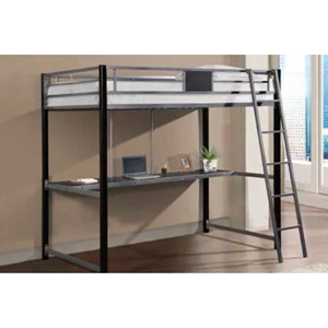 Twin Study Loft Bed - Black and Silver