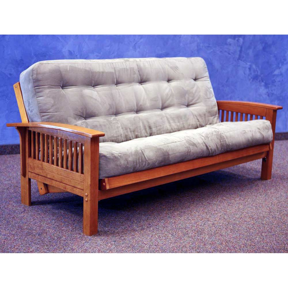 Florence Wood Futon Frame Curved Slatted Arms Dark Cherry Donc