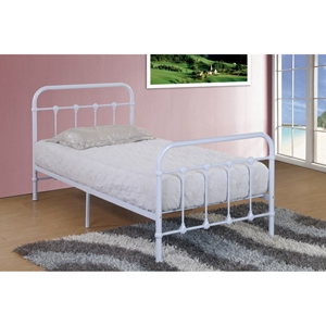 Twin Panel Bed - White