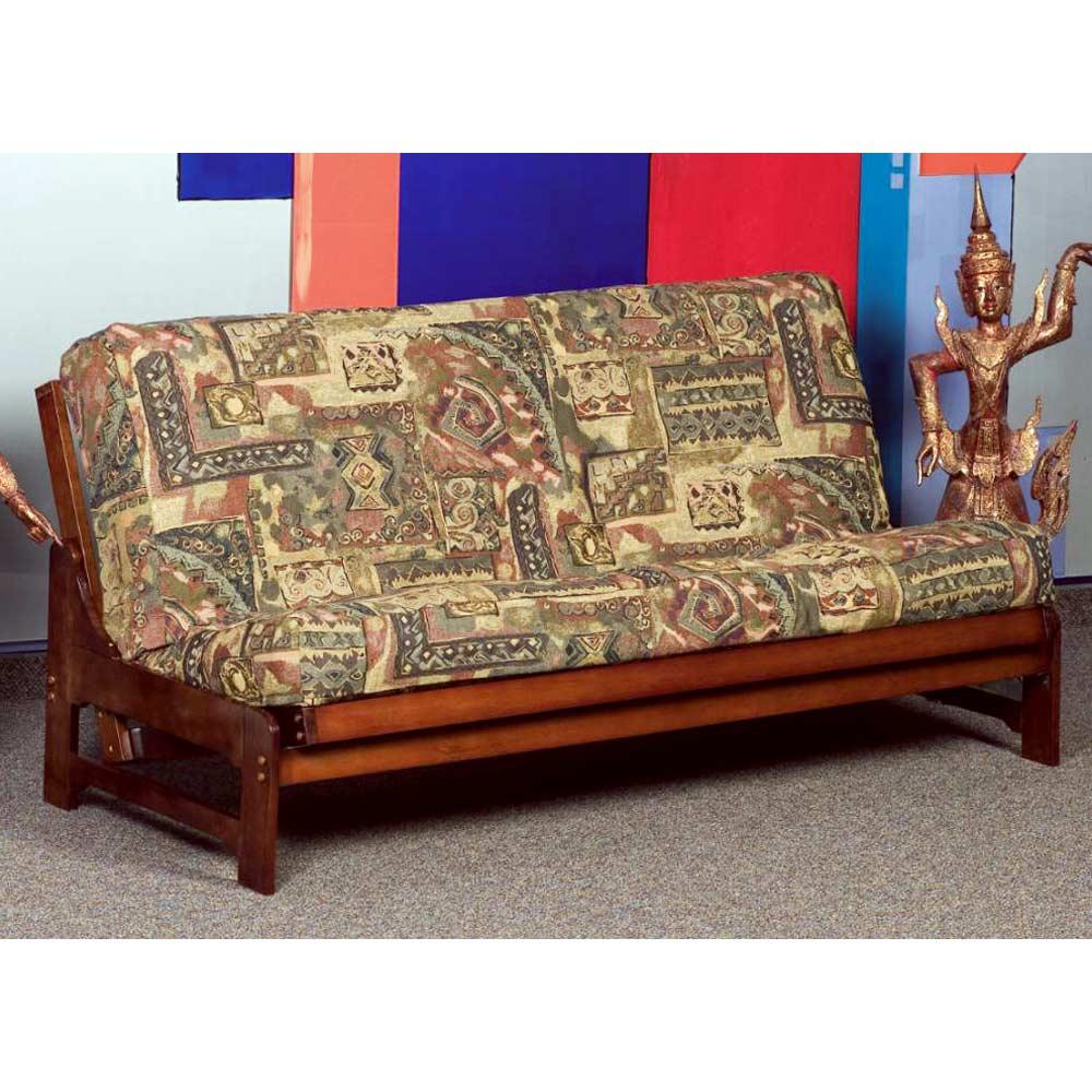 Monet Full Size Wood Futon Frame - Armless, Dark Cherry | DCG Stores