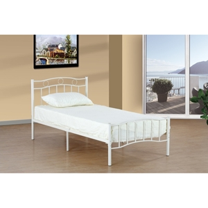 Twin Bed - Metal, White